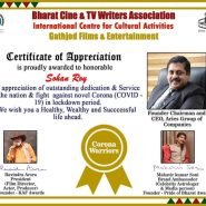 Dr Sohan Roy Titled CORONA Warrior For His Fight Against COVID-19